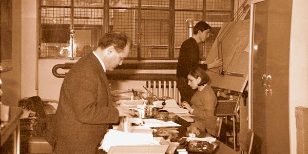 O engenheiro em 1966, no primeiro escritório da IGV em Milão